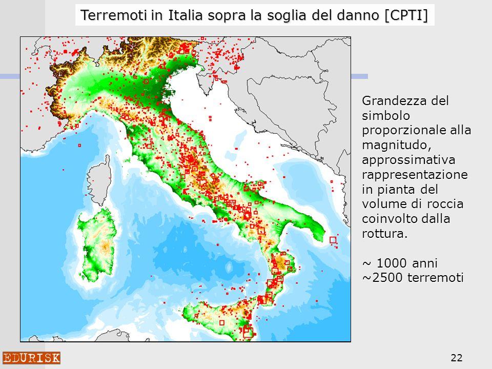 Terremoti in Italia sopra la soglia del danno [CPTI]